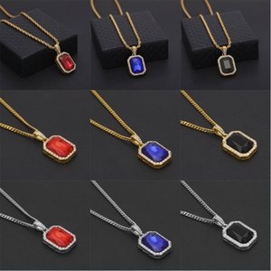 Fashion Iced Out Chain Hip Hop Diamond Pendant Necklace Square Gem Crystal Necklaces Jewelry for Men Women Party Favors Gifts Kimter-P5FA
