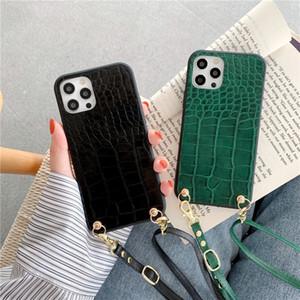 Cajas de cuero de la PU de lujo de cocodrilo Casos de teléfono de Crossbody para iPhone 12 Pro Max 11 PROMAX XS 7 8 Plus XR x SE Funda Huawei Xiaomi Samsung S20