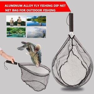 Nera in lega di alluminio reti da pesca attrezzatura da pesca rete rete rete portatile linea dip gage pieghevole fishnet durevole