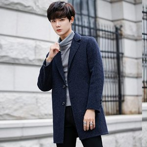 Мужская шерстяная смесь Циу Донг Мужчины о двойном пальто ткани в Han Edition бизнес повседневная длинная кашемировая шерстяная пыль мужчина