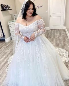 2021 Arabic Aso Ebi Plus Size Lace Sexy Beach Wedding Dresses Long Sleeves Bridal Dresses A-line Tulle Wedding Gowns ZJ355
