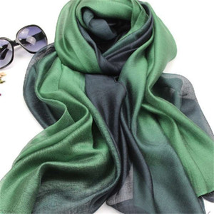 Autumn winter new mulberry gradual change color real silk cotton hemp long scarf shawl dual purpose women's spring and