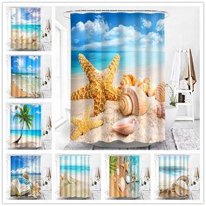 Starfish Conch Poster Waterproof Bathroom Shower Curtains Seaside Beach Scenery Fabric Bath Screen Bathroom Decoration 150 180cm