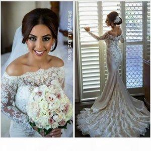 2016 Glamorous Mermaid Lace Wedding Dresses with Long Sleeves Luxury Pearls Beading Bateau Bridal Gowns Court Train Wedding Dress