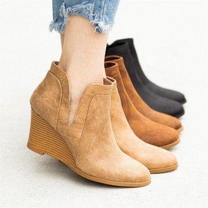 Monerffi Kadın Çizmeler Ayak Bileği Kısa Çizmeler Fermuarlar PU Deri Katı Renk Boot Platformunda Kayma Yüksek Topuk Kadın Botas Mujer R5QJ #