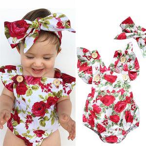 Kids Romper Été Combinaison Été Jumpsuit Flower Bur Bandeau Neuf Vêtements Ensemble Enfants Harem Rompers Body Body Body Costume H238V6M