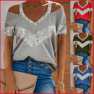 Sequins Patchwork Sexy Off Shoulder Tops Women Summer Halter V-neck Short Sleeve T Shirt Plus Size Tees Tshirts Womans Clothing 210722