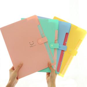 Nuevo 9 Color A4 Kawaii Carpetas Suministros Suministros Smile Impermeable File Folder 5 capas Bolsa de documentos Oficina Papelería WLL54