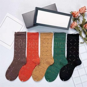 Girl Ladies Socks 5 Individual Classic Color Cotton Letter Long Comfortable Breathable Non-slip Wear-resistant Fashion Basketball Sports 5pairs=1box