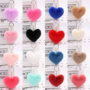 Faux Fur PomPom Love Heart Keychains Cute Rabbit Fur Ball Key Chain for Women Girls Car Keyrings Phone Hangbag Pendant Gift Kimter