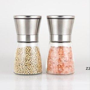 Stainless Steel Manual Salt Pepper Mill Grinder Seasoning Bottle Grinder Glass Kitchen Accessaries Tool Premium Salt Grinder HWE8885