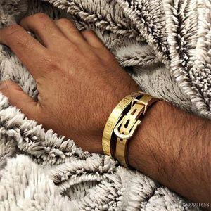 Men bracelet Stainless steel Bangle Bracelets men Fashion Titanium Steel Bangle for men Type C twisted Bangle Bracelets gold bangles 21 U2