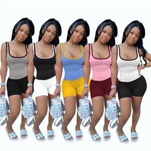 Sweatsuits sexy Summer Women vest shorts jogger suits tank tops joggers 2 piece sets 2XL yoga pullover capris fashion casual clothing 4507