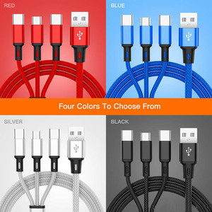 For HuaWei HTC LG Samsung S10 S9 Plus 3 in 1 Charging Cable 1.2M Braided Micro USB Cable With Metal Head Plug