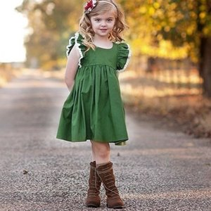 2021 Summer New Girls Dress Sleeveless Baby Lace Tassel Princess Dress Skirt Fashion Green Party Dress clothes H236S3M