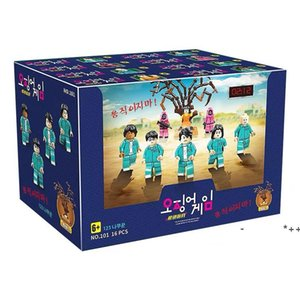 Squid Game Same Toy Scene Building Festival Party Gift Block Puzzle Assembling Interesting Intelligence Doll 123 Wooden People RRD11018