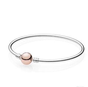 925 Sterling Silver Bangle Set for Pandora Rose gold Clasp Charm Bracelet Women Gift Jewelry Charms & Beads with box