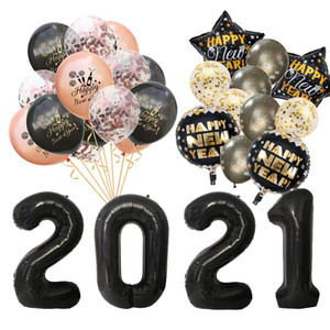 2021 Happy New Year Decorations Wine Bottle Foil Balloons Merry Christmas Decorations Party Confetti Air Ballons New Year EVE