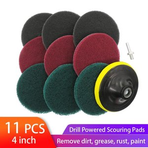 Hand & Power Tool Accessories 11pcs 4 Inch Drill Scrubber Scouring Pads Cleaning Kit Household Cleaner Tools Dusty Brush With Hook And Loop