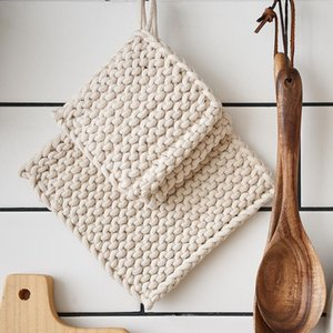 Table Runner Placemat For Dining Woven Pot Holder Cotton Heat Resistant Cup Tea Drink Decoration Coasters