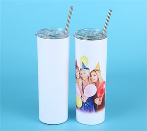 20oz Sublimation STRAIGHT Tumbler Blank Stainless Steel Tumbler DIY Tapered Cups Vacuum Insulated Car Tumbler Coffee Mugs Christmas Gifts