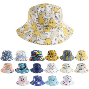 Children Baby Fisherman Hat Cute Cartoon Bucket Hat 40 New styles Sunscreen Cap Kids Collapsible Newest Street Outdoor Tide Sun Hat LLA434