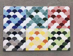 Fish scale swimming pool tile 300 mm non slip blue floor mosaics wall tiles shower room mosaic salt-glazed brick