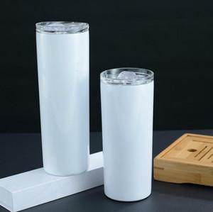 20 oz 30oz Tumblers Boş Süblimasyon Ince Fincan Kahve Kupalar Kapak Ve Plastik Hasır Bira Kupalar Deniz Nakliye