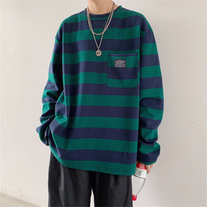 New 2021 Loose Striped t Shirt Men Oversized T-shirt Casual Japan Tops Streetwear Fashion Autumn Long Sleeve Shirts Males Qqeg