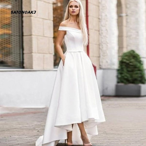 2021 Beach Wedding Dresses A Line Off Shoulder High Low Bridal Gowns With Pockets Satin Plus Size Wedding Gowns
