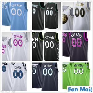 Custom Impresso 23 Jarrett Culver 10 Jake Layman 41 Juancho Hernangomez 5 Malik Beasley 11 Naz Reid Homens Mulher Crianças Juventude Basketball Jerseys