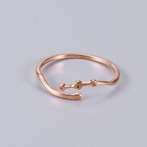 J80 Open End Diamante ligado Titanium Steel Ring Han Jianjian 18k Rose Gold Tail Ring
