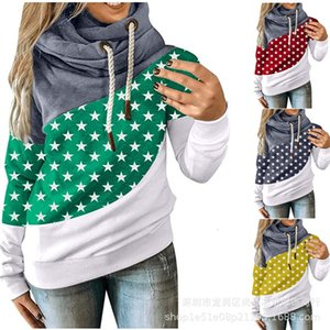 2020 women's top loose long sleeve Scarf Collar printed sweater