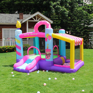 New Cake Bouncy Castle Small Donuts Inflatable Bouncer Slide Commercial Indoor Inflatable Jumper Jump for Kids Bounce House Party w  Blower