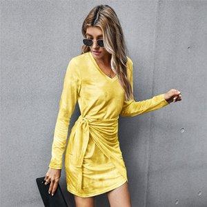 2021 Autumn Winter Bandage Cotton Tie Dye Clothing v Neck High Waist Slim Bodycon Hip for Women New 03a2