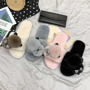 2020 New Winter Home Slippers Women Warm Cotton Lovely Fabric Slipper Indoor Mute Non Slip Bear Ears Flat Women Shoes Fur Slides m0n0#