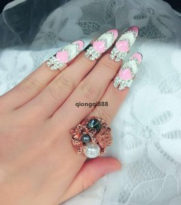 JH 12styles Nail Rings Crown Flower Bowknot Finger Knuckle Ring Design Exquisite Cute Fashion Retro Rhinestone Nail Rings Jewelry Dhl