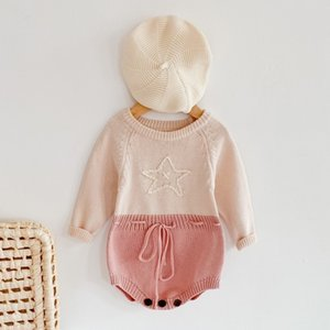 Spring and Autumn 0-3 Yrs Older Baby Hand-embroidered Stars Long-sleeved Khaki Jumpsuit Triangle Bag Fart Climbing Clothes Girl Q0201