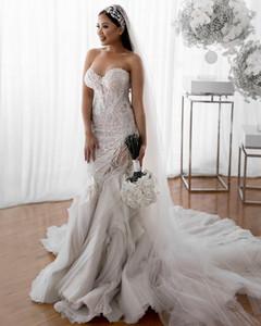2021 Plus Size Arabic Aso Ebi Luxurious Lace Beaded Wedding Dresses Mermaid Sweetheart Bridal Dresses Tiers Wedding Gowns ZJ437
