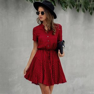Lossky Women Cotton Mini Dress Fashion Summer Plaid Snake Short Sleeve Casual Ruched Short Nice Shirt Dress Clothes Elegant 210315