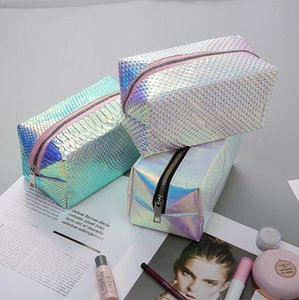 Laser Cosmetic Bag Fashion Holographic Pencil Case Cosmetic Makeup Pouch Laser Zipper Purse Bag Toiletry Cases Free Shipping