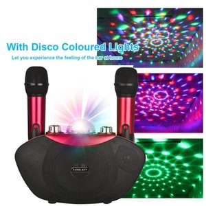 Y-8 Wireless Microphone Bluetooth Speaker Outdoor Family Karaoke Stereo MIC With LED Flash Neon Light Playing Music Family KTV