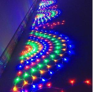 LED-Lichtstring Peacock Net Light Fishing Net Lampe Weihnachtstag Gartengarten Outdoor Wasserdichte Sterne Dekoration Farbe Lampen