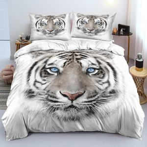 Bedding Sets 3D White Set Custom Design Animal Quilt Cover Tiger Comforter Covers Pillow 203*230cm Full Twin Double Size