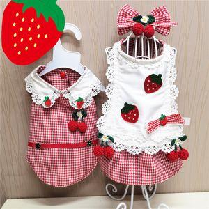 Cute Strawberry Pattern Pet Dress Lace Edge Design Puppy Vest Schnauzer Teddy Bichon Pets Dogs Clothes