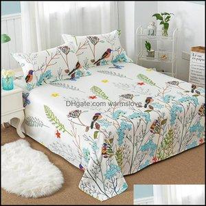 Sheets Bedding Supplies Textiles Home Gardensheets & Sets Floral Bird Pattern Flat Sheet 100% Cotton Bed For Child Kids Adts Twin Fl Queen K
