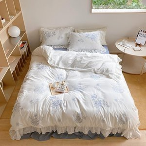Bedding Sets Elegant Romantic White Duvet Cover With Blue Flowers Pattern Ultra Soft Cozy Washed Cotton Set 4pcs Bed Sheet Pillowcase