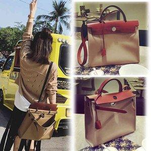 Bag female 2021 new leather canvas Kelly bag female portable One Shoulder Messenger Bag 31