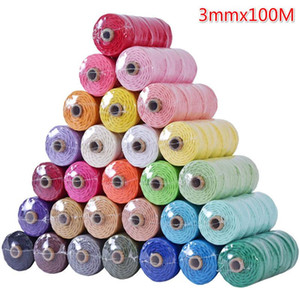 3mm 100% Cotton Macrame Cord Colorful Cord Rope Twisted Macrame String DIY Home Textile Wedding Decorative Tapestry Art 110yards