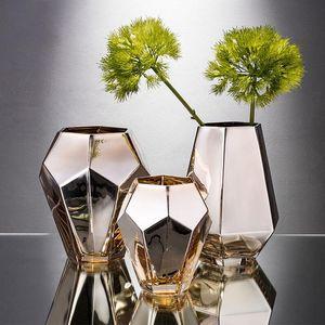 Moderne Golden Glectroplating Vase Artificial Séché Fleur Vase Art Artisanat Nordic Home Décoration Cadeau de mariage
